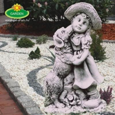 Kislány kutyussal kerti szobor