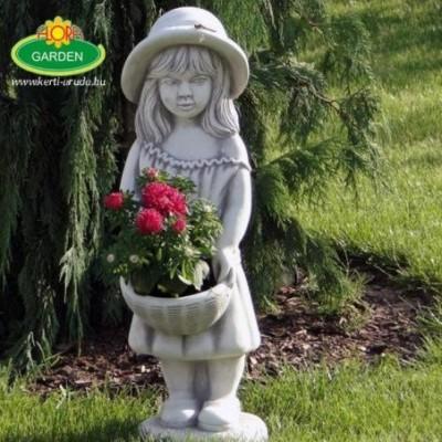 Kislány kerti virágtállal...